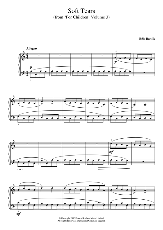Bela Bartok Soft Tears (from 'For Children', Volume 3) sheet music notes and chords