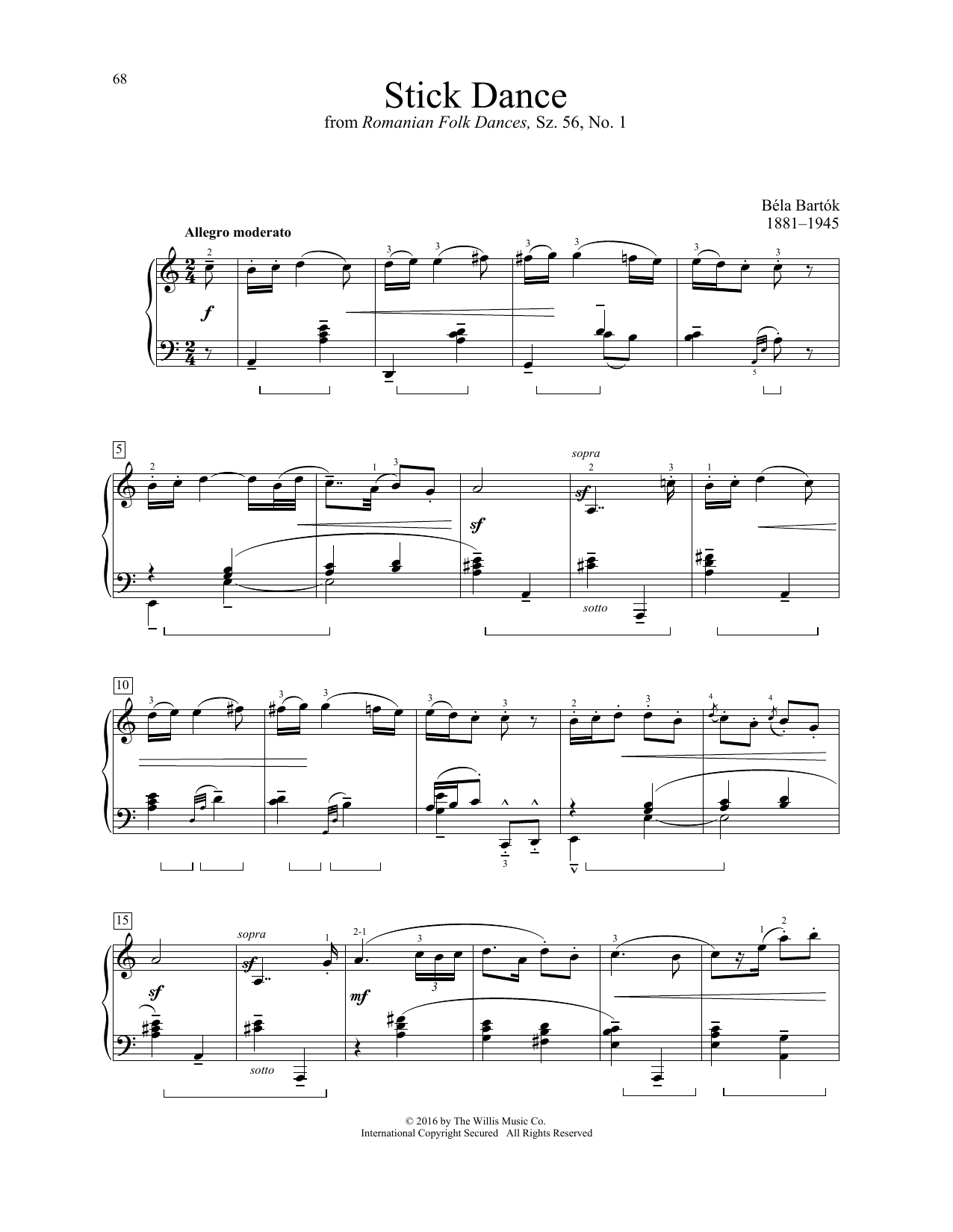 Bela Bartok Stick Dance sheet music notes and chords. Download Printable PDF.