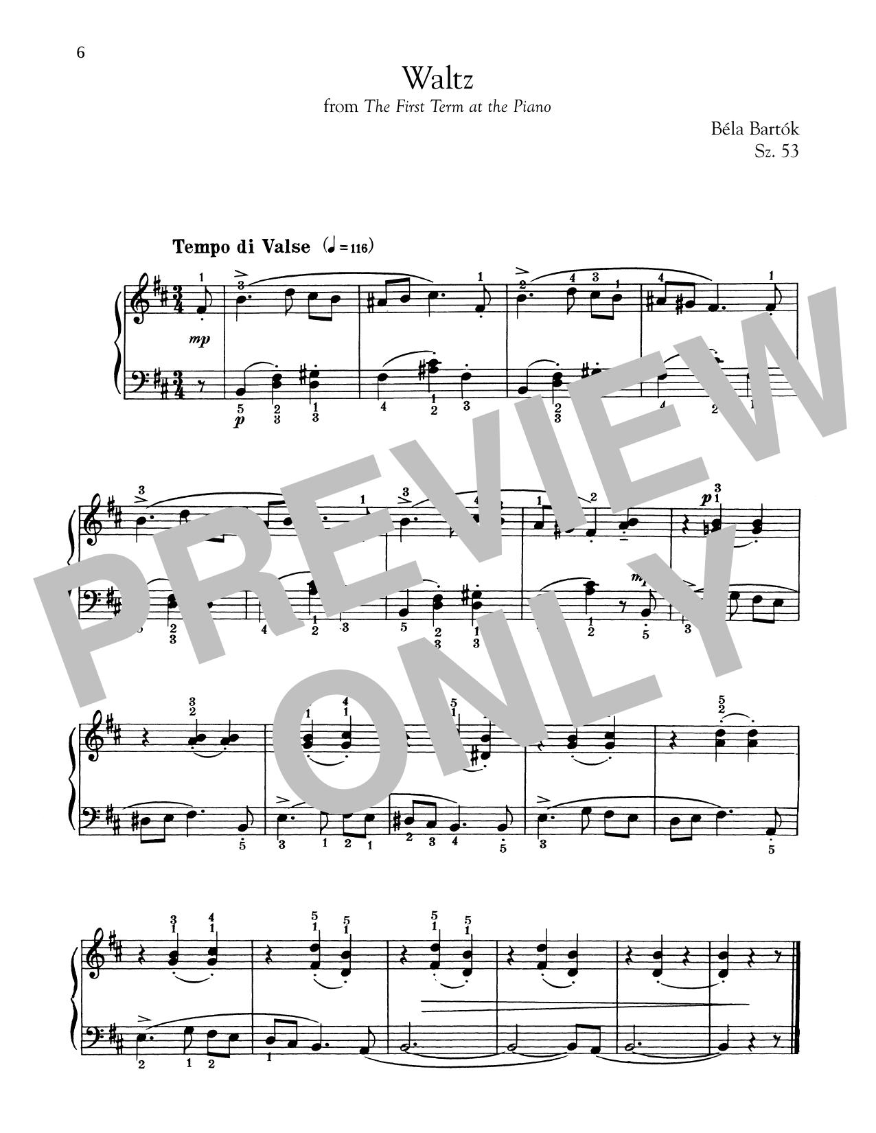 Bela Bartok Waltz sheet music notes and chords