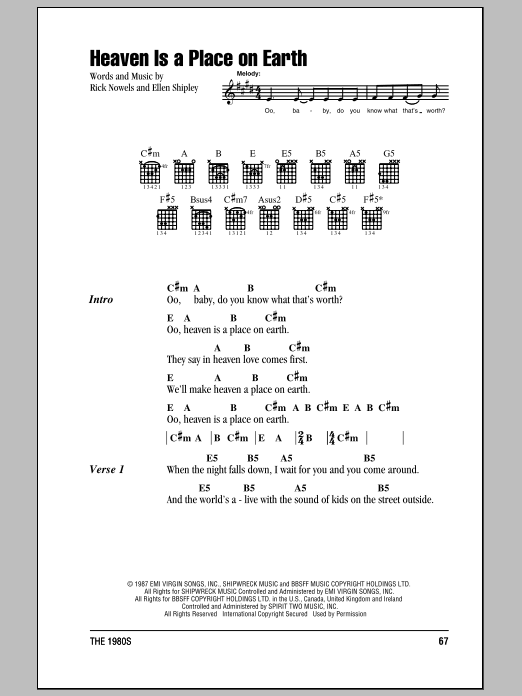 Belinda Carlisle Heaven Is A Place On Earth sheet music notes and chords. Download Printable PDF.