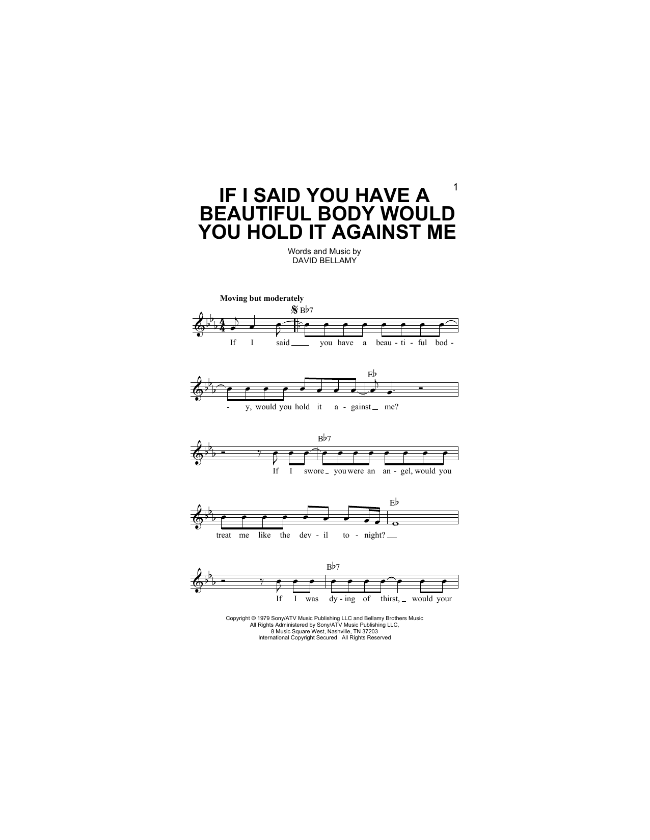 Bellamy Brothers If I Said You Have A Beautiful Body Would You Hold It Against Me sheet music notes and chords. Download Printable PDF.