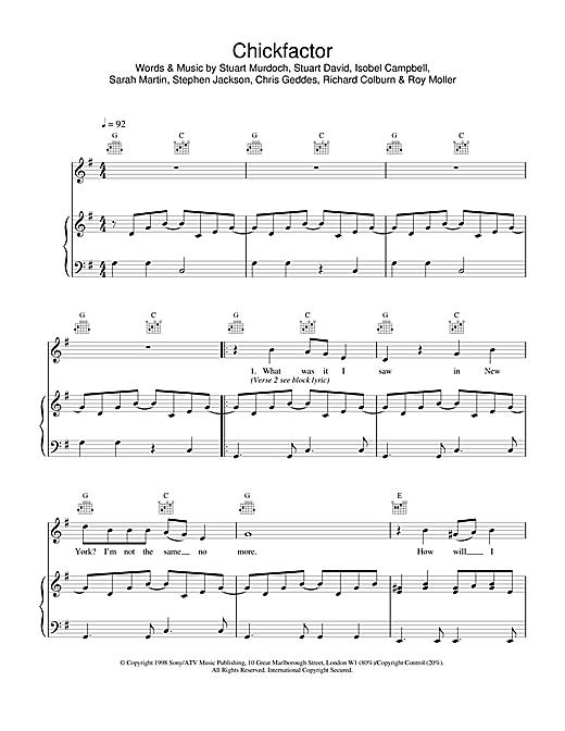 Belle & Sebastian Chickfactor sheet music notes and chords