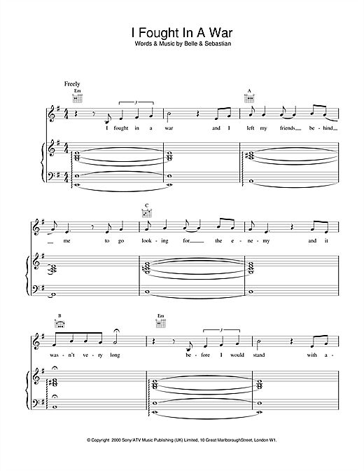 Belle & Sebastian I Fought In A War sheet music notes and chords