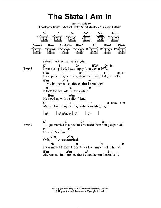 Belle & Sebastian The State I Am In sheet music notes and chords. Download Printable PDF.