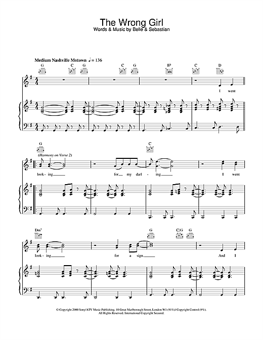 Belle & Sebastian The Wrong Girl sheet music notes and chords. Download Printable PDF.