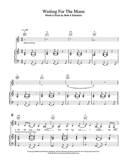 Belle & Sebastian Waiting For The Moon sheet music notes and chords. Download Printable PDF.