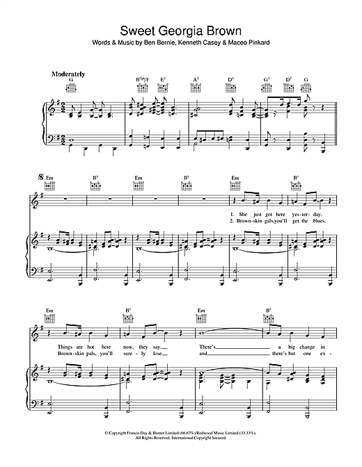 Ben Bernie Sweet Georgia Brown sheet music notes and chords. Download Printable PDF.