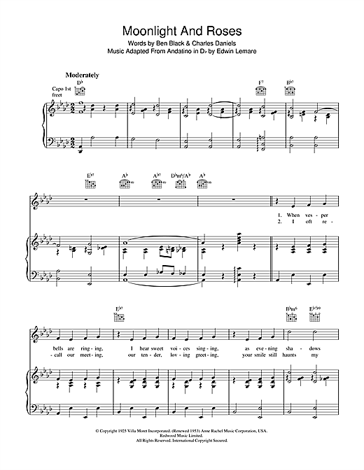 Ben Black Moonlight & Roses (Bring Mem'ries Of You) sheet music notes and chords. Download Printable PDF.