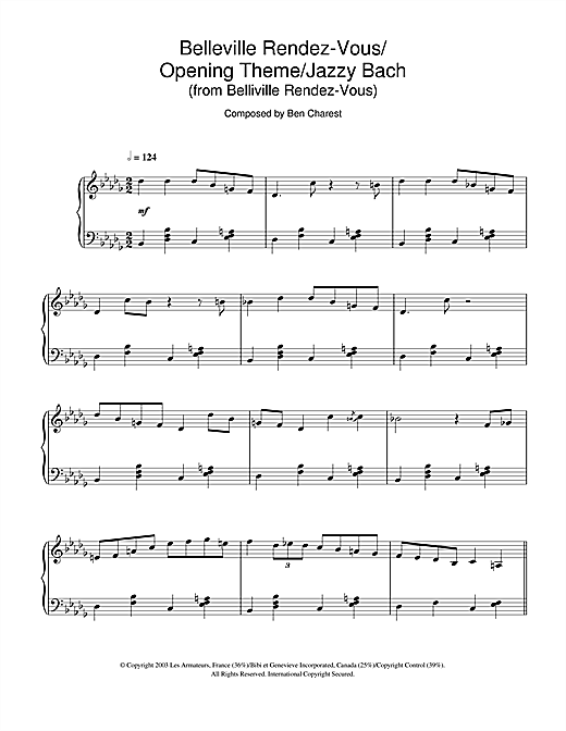 Ben Charest Belleville Rendez-Vous (Belleville Rendez-Vous/Opening Theme/Jazzy Bach) sheet music notes and chords