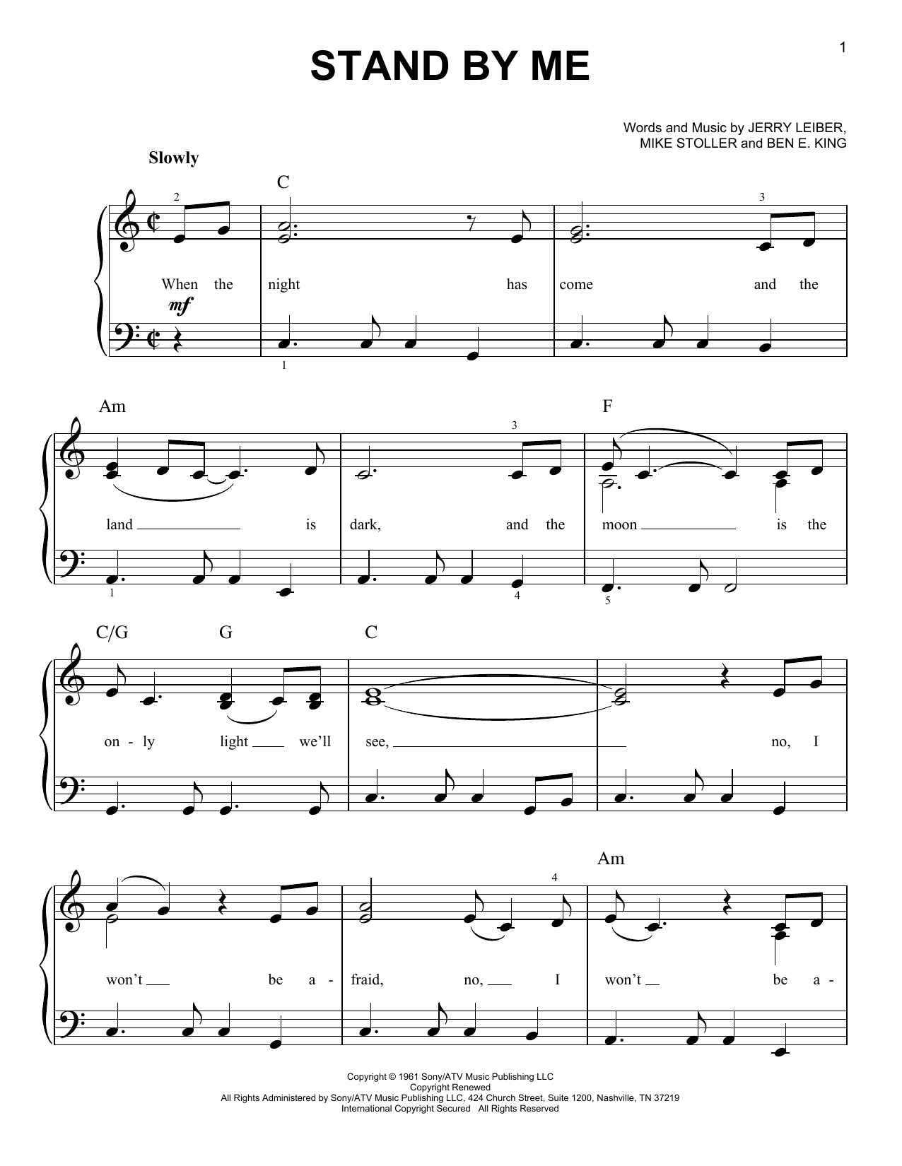 Ben E. King Stand By Me sheet music notes and chords. Download Printable PDF.