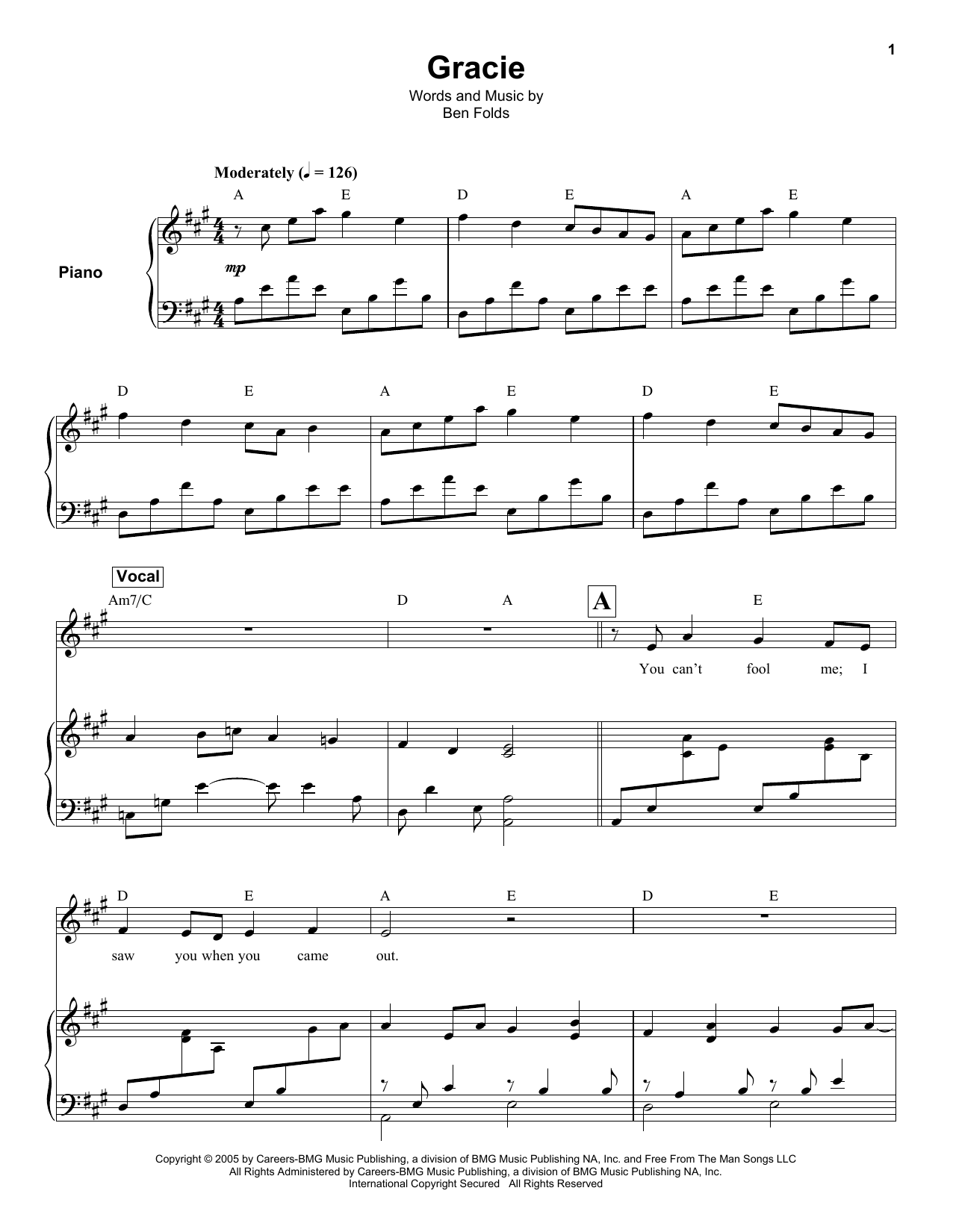 Ben Folds Gracie sheet music notes and chords. Download Printable PDF.