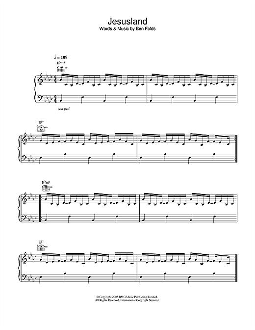Ben Folds Jesusland sheet music notes and chords. Download Printable PDF.