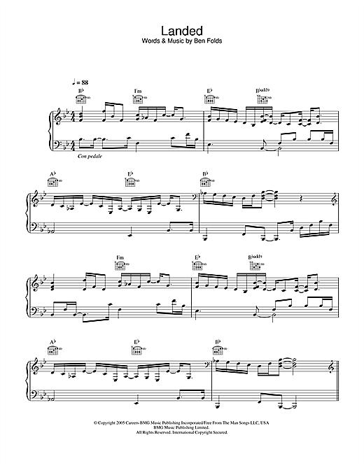 Ben Folds Landed sheet music notes and chords. Download Printable PDF.