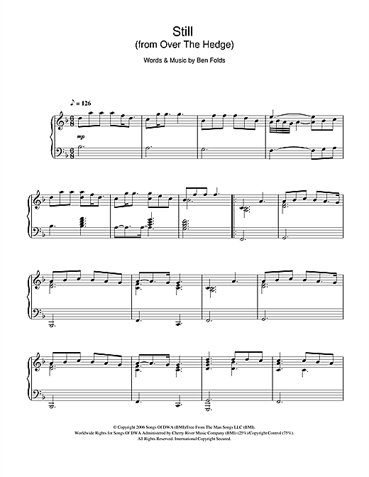Ben Folds Still (from 'Over The Hedge') sheet music notes and chords