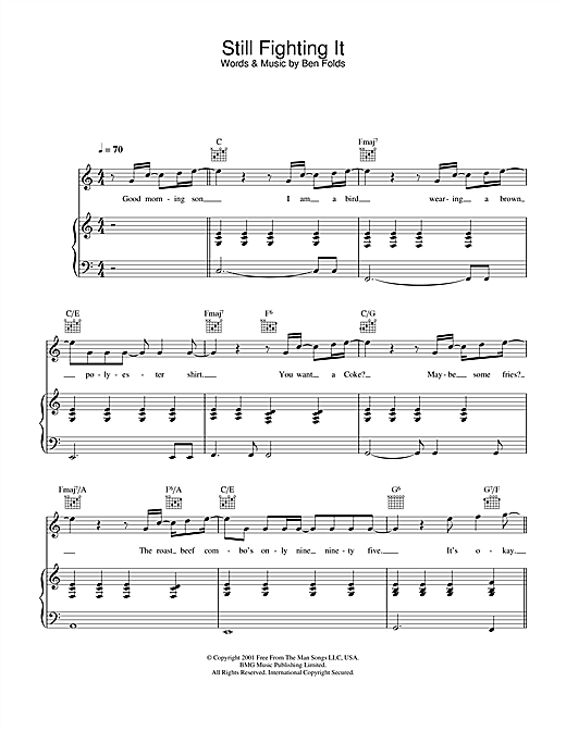 Ben Folds Still Fighting It sheet music notes and chords. Download Printable PDF.