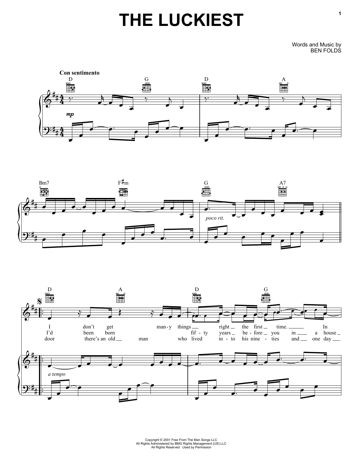 Ben Folds The Luckiest sheet music notes and chords. Download Printable PDF.