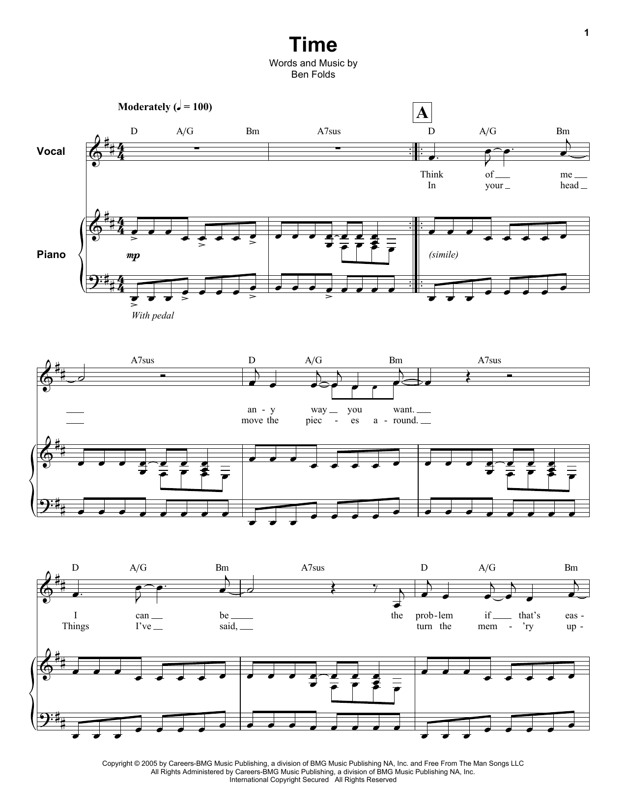 Ben Folds Time sheet music notes and chords. Download Printable PDF.