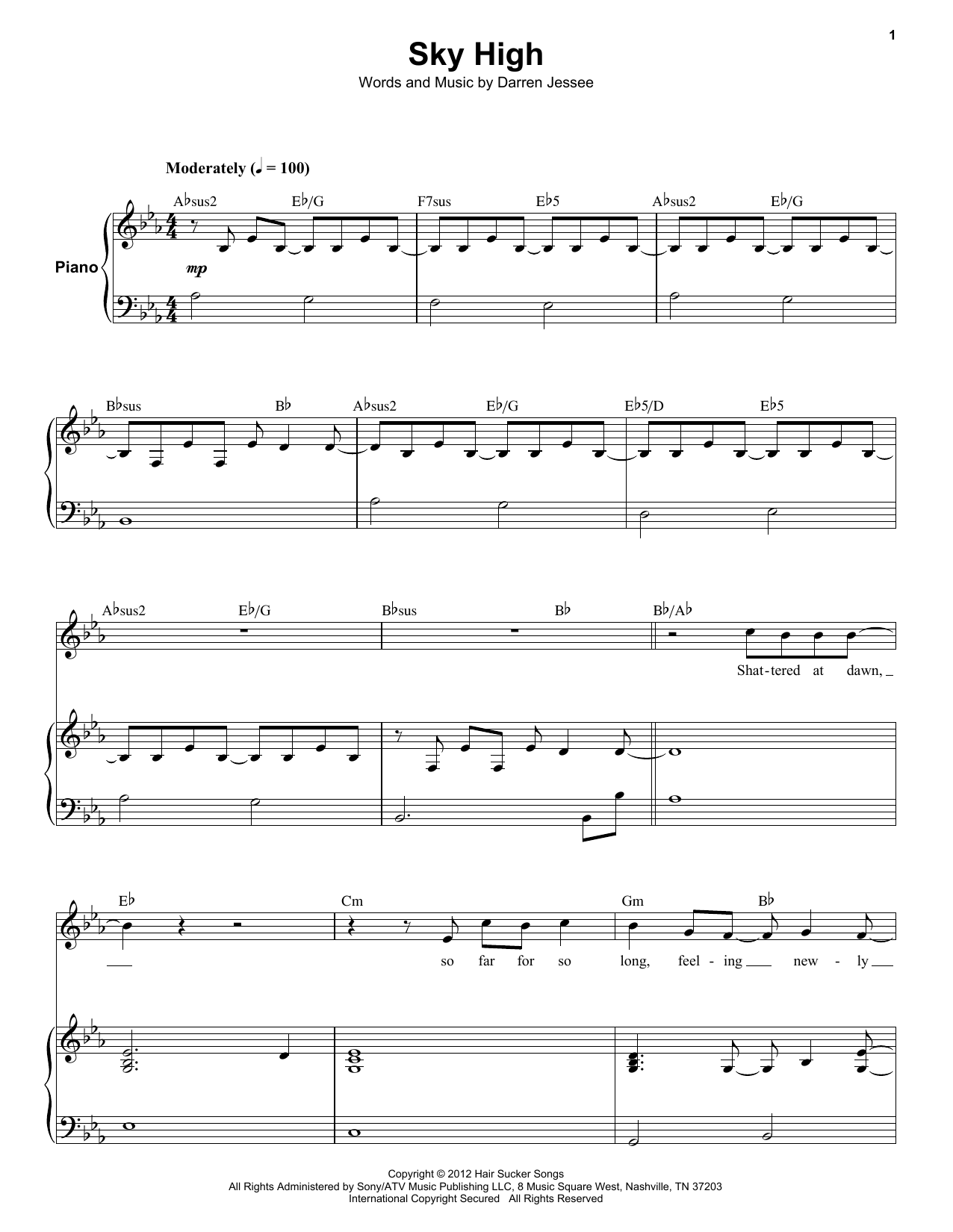 Ben Folds Five Sky High sheet music notes and chords. Download Printable PDF.