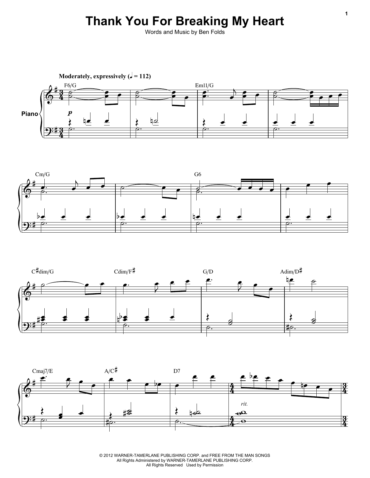 Ben Folds Five Thank You For Breaking My Heart sheet music notes and chords. Download Printable PDF.