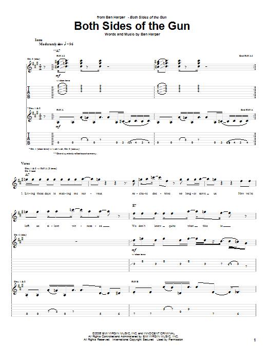 Ben Harper Both Sides Of The Gun sheet music notes and chords. Download Printable PDF.