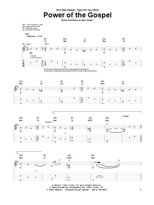 Ben Harper Power Of The Gospel sheet music notes and chords