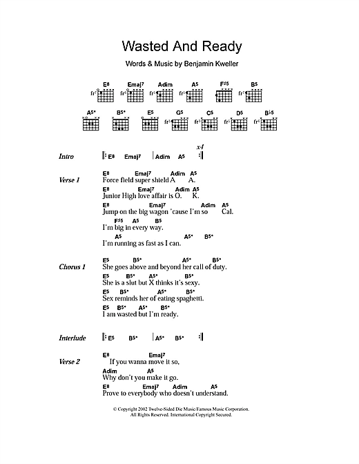 Ben Kweller Wasted And Ready sheet music notes and chords. Download Printable PDF.