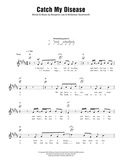 Ben Lee Catch My Disease sheet music notes and chords. Download Printable PDF.