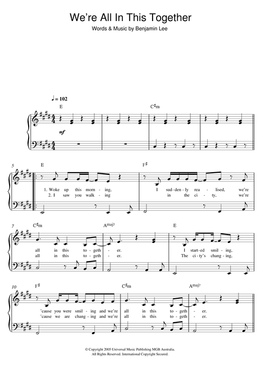 Ben Lee We're All in This Together sheet music notes and chords. Download Printable PDF.