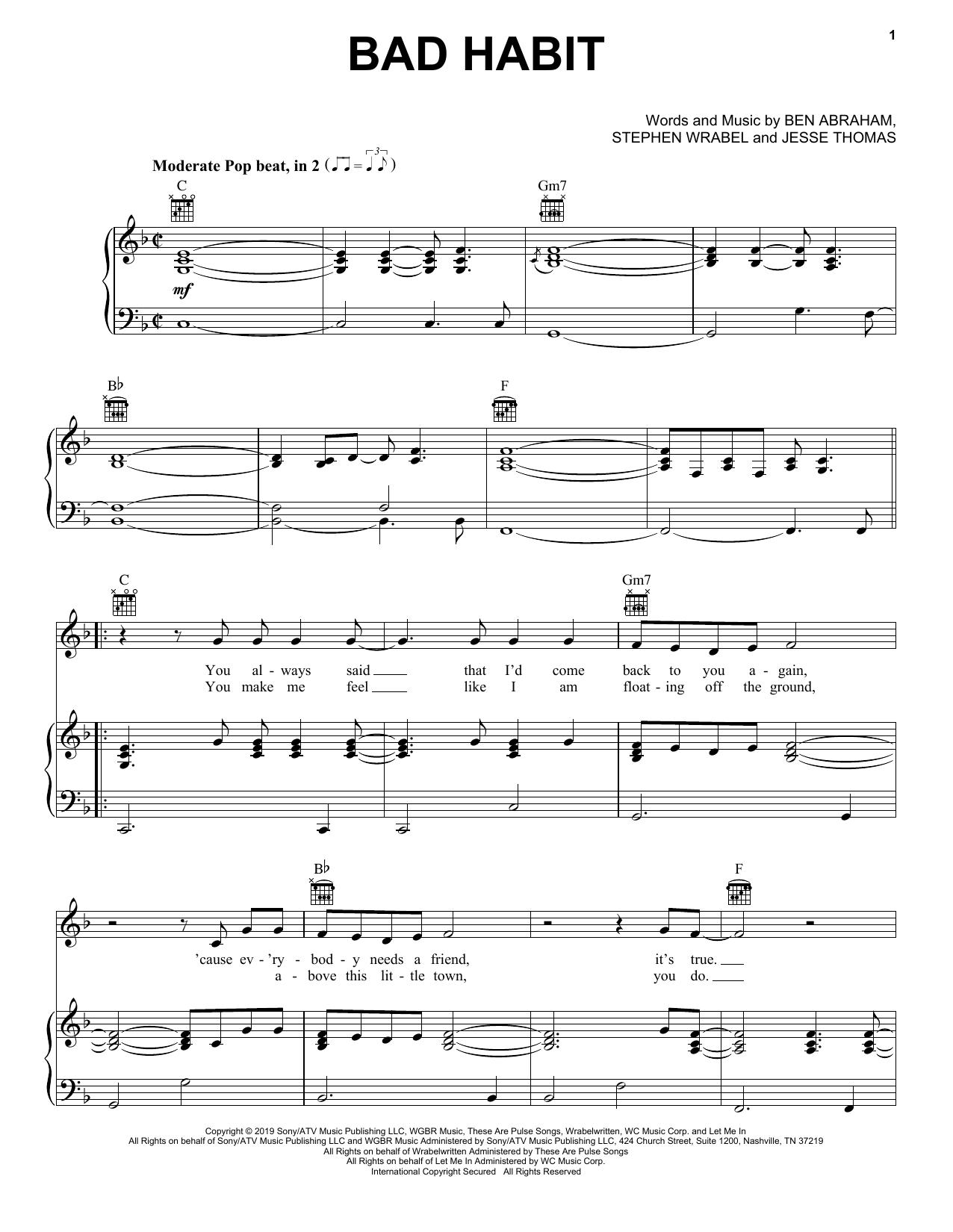 Ben Platt Bad Habit sheet music notes and chords