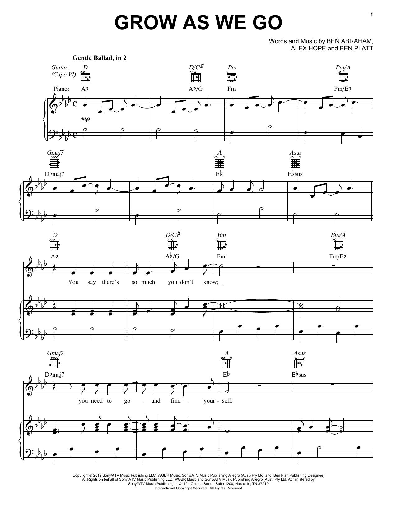 Ben Platt Grow As We Go sheet music notes and chords