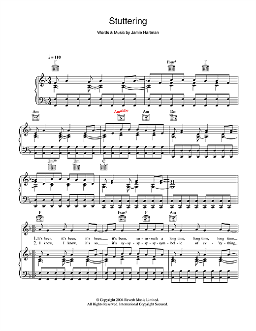 Ben's Brother Stuttering (Kiss Me Again) sheet music notes and chords