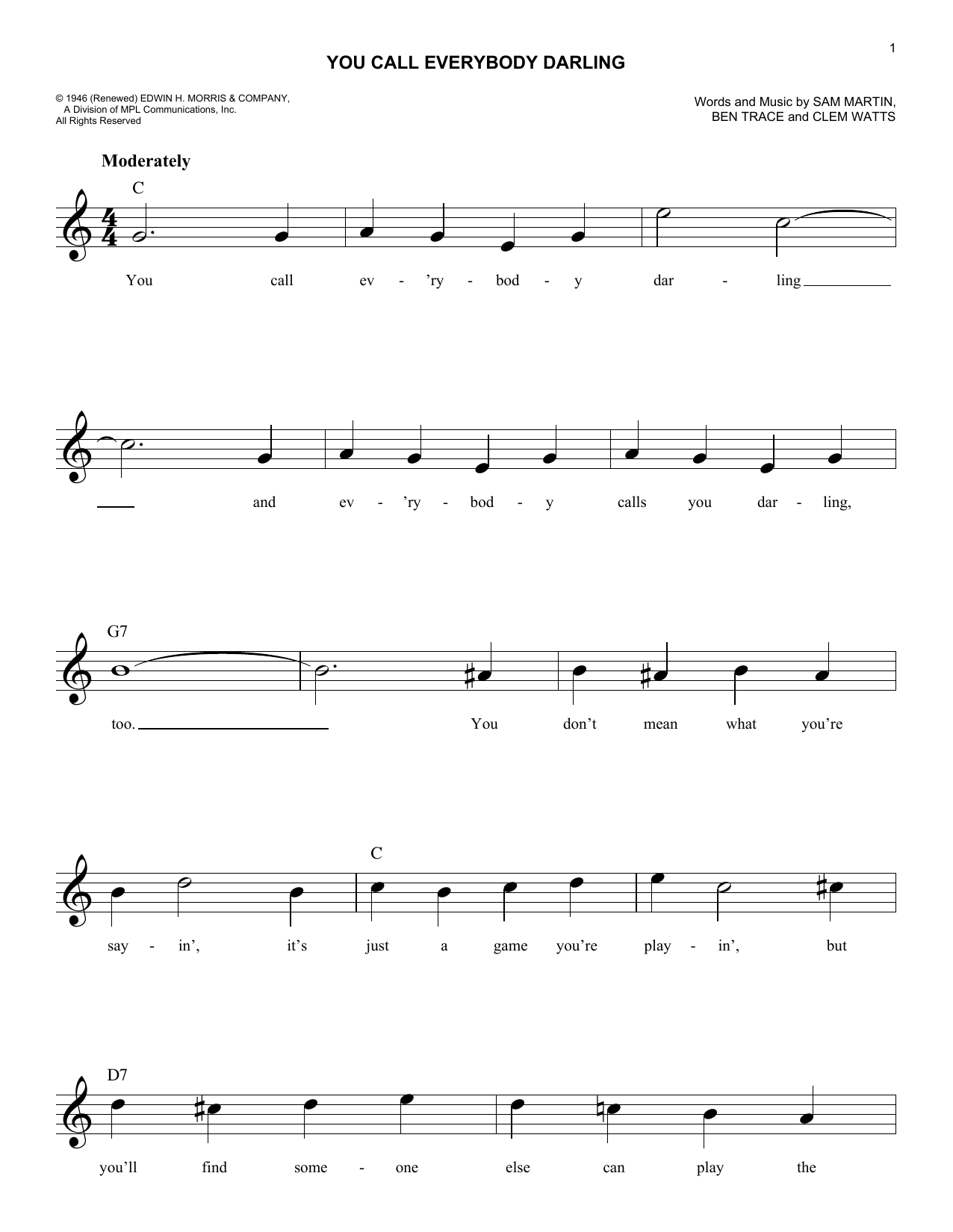 Ben Trace You Call Everybody Darling sheet music notes and chords. Download Printable PDF.