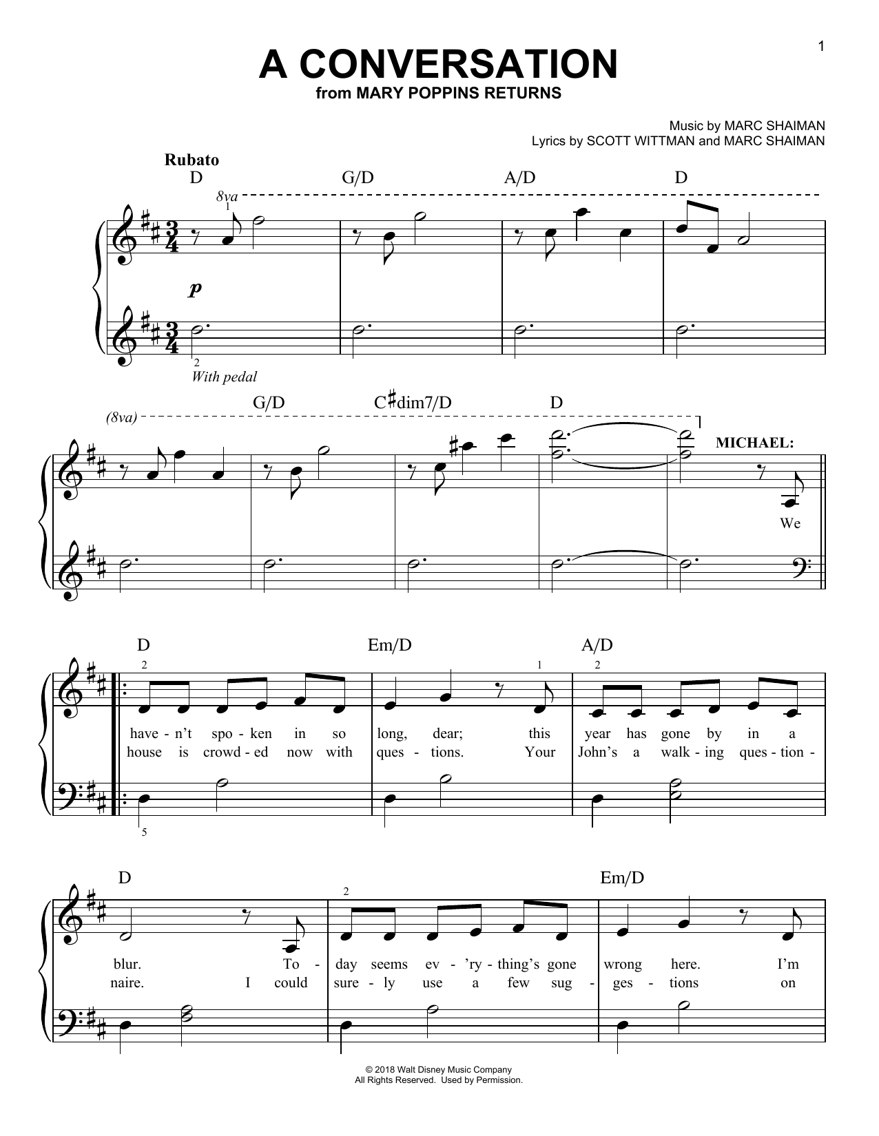 Ben Whishaw A Conversation (from Mary Poppins Returns) sheet music notes and chords. Download Printable PDF.