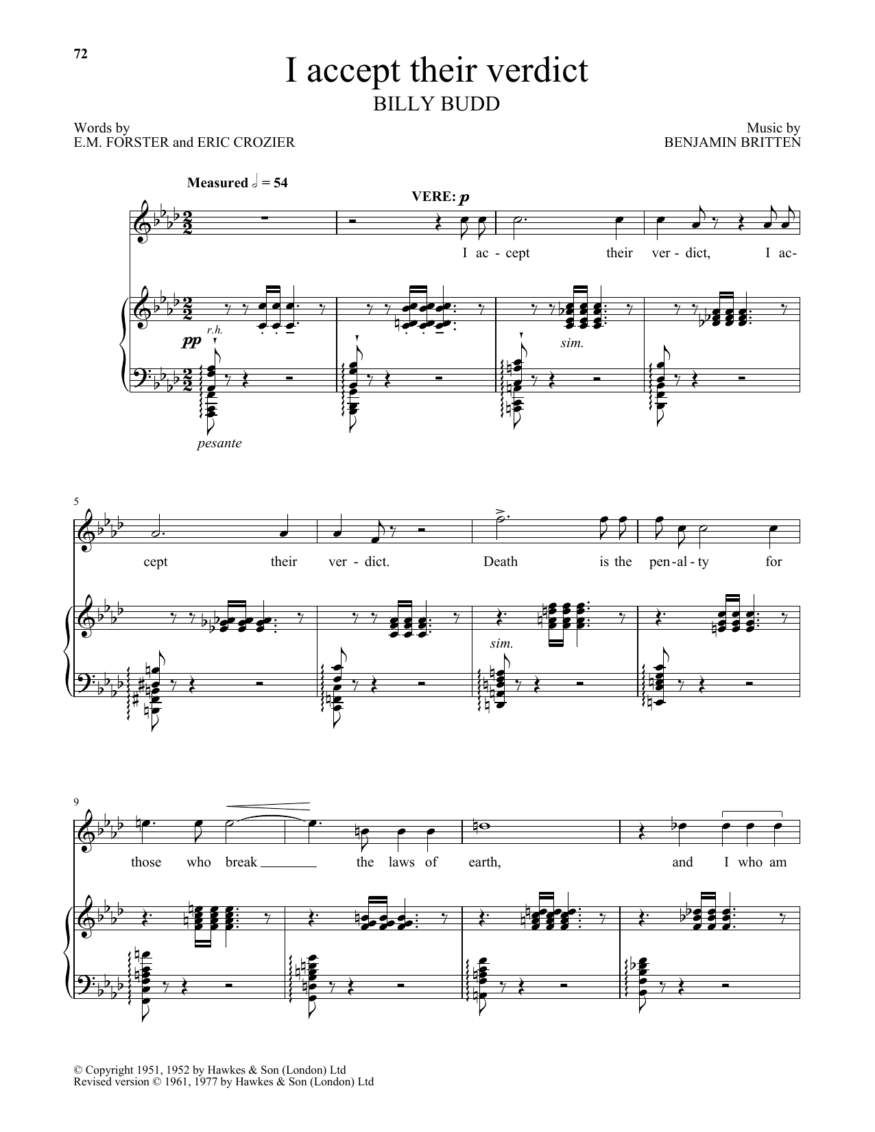 Benjamin Britten I accept their verdict (from Billy Budd) sheet music notes and chords. Download Printable PDF.