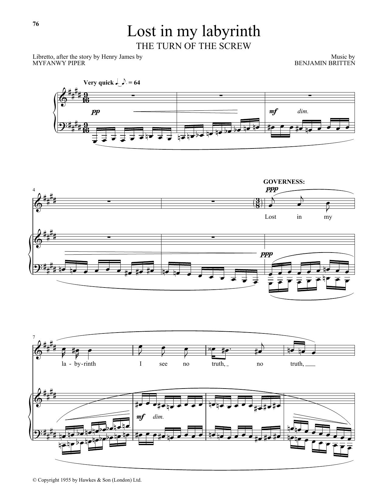 Benjamin Britten Lost in my labyrinth (from The Turn Of The Screw) sheet music notes and chords. Download Printable PDF.