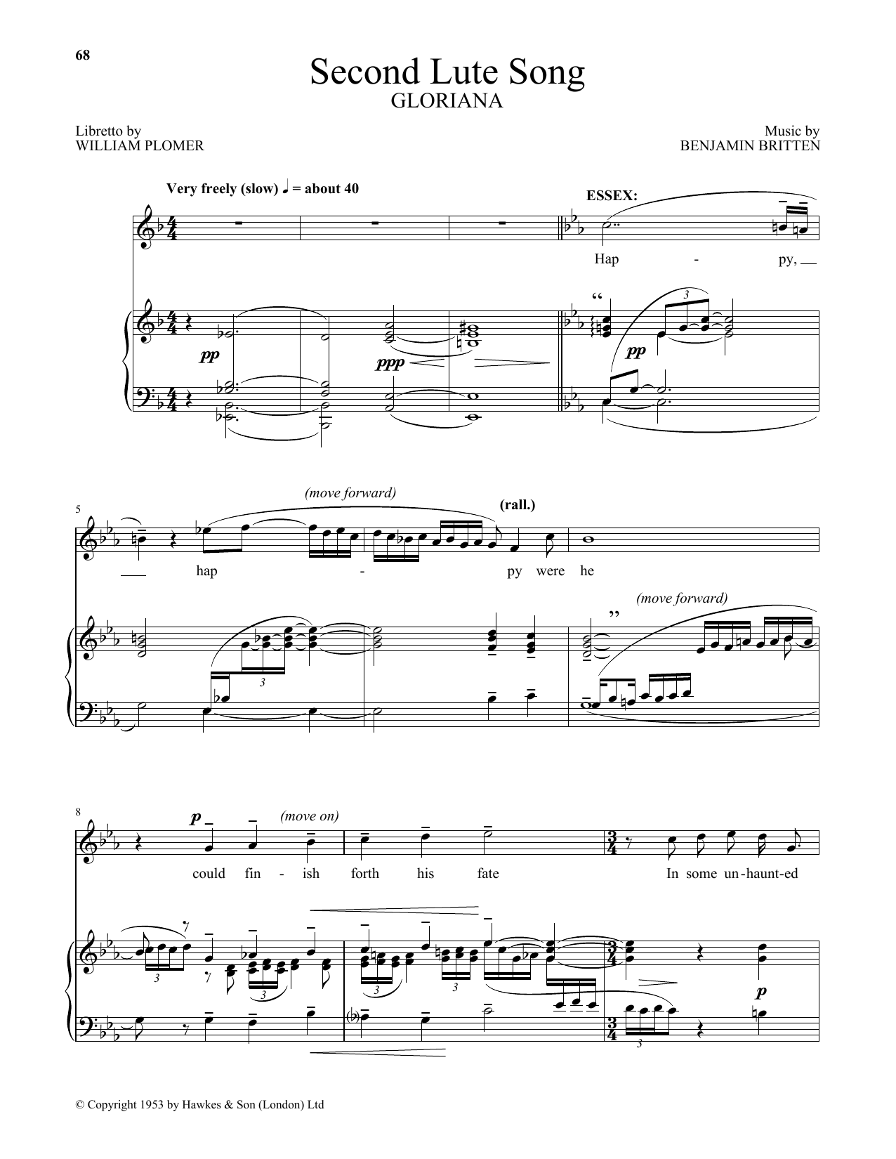 Benjamin Britten Second Lute Song (from Gloriana) sheet music notes and chords. Download Printable PDF.