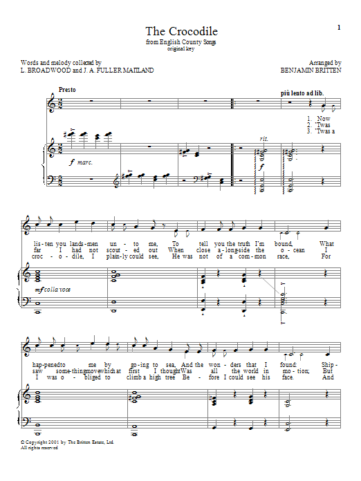 Benjamin Britten The Crocodile sheet music notes and chords. Download Printable PDF.
