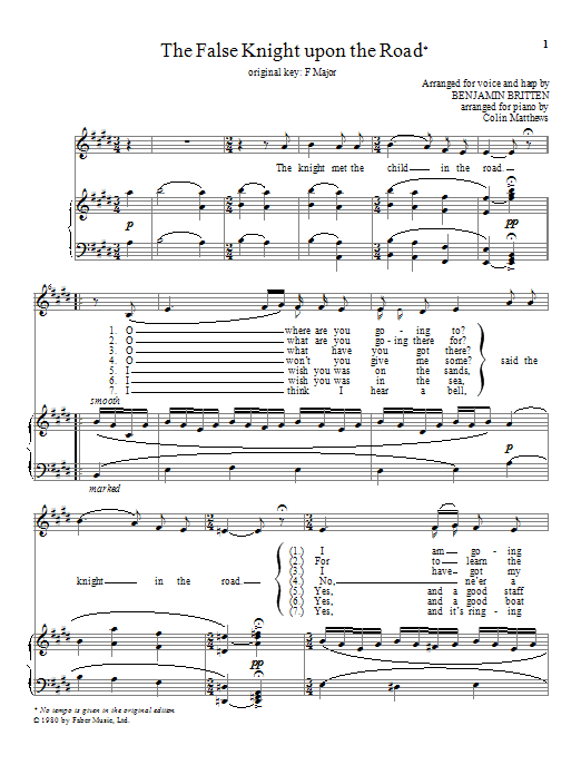 Benjamin Britten The False Knight upon the Road sheet music notes and chords. Download Printable PDF.