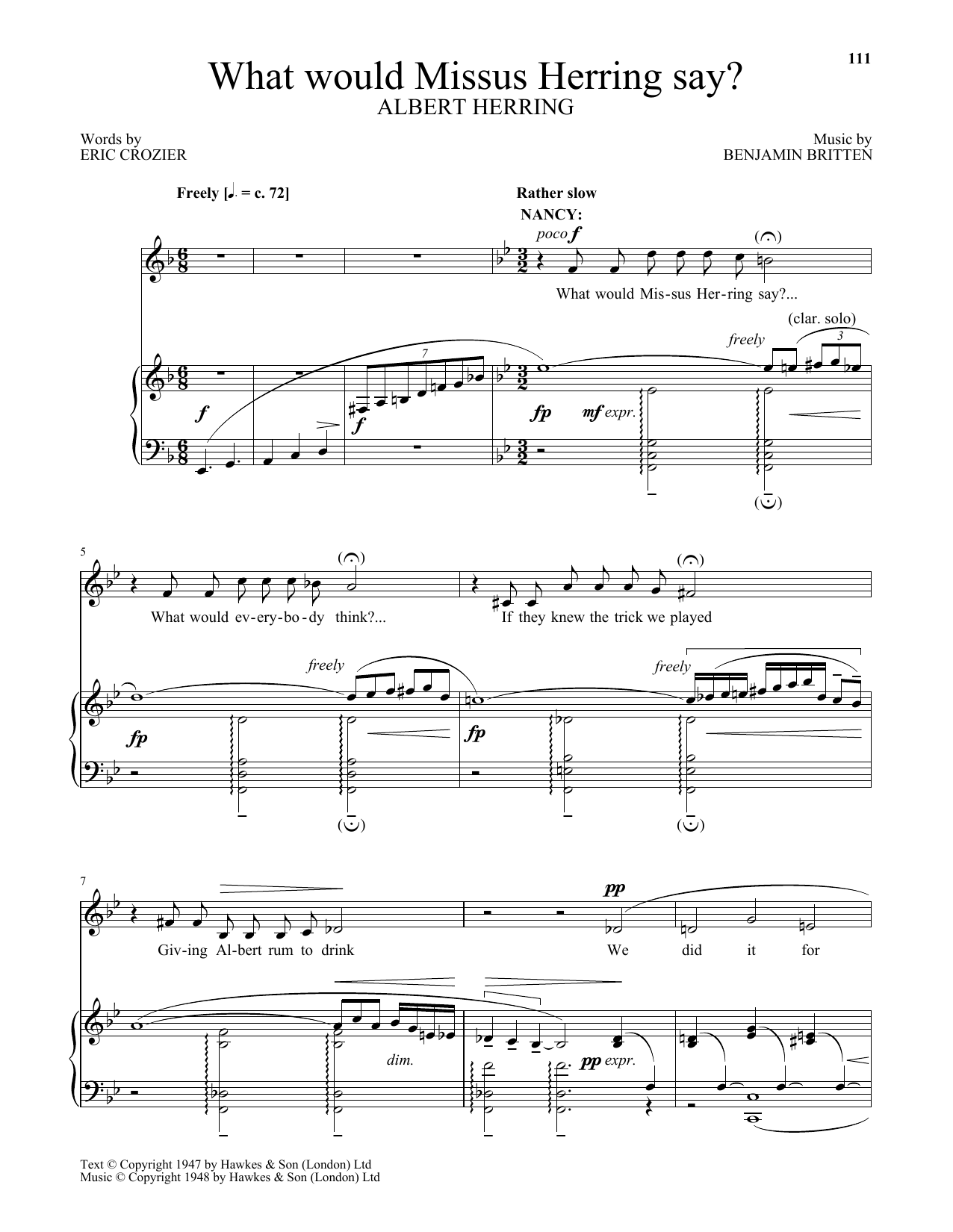 Benjamin Britten What would Missus Herring say? (from Albert Herring) sheet music notes and chords