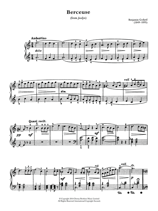 Benjamin Godard Berceuse (From Jocelyn) sheet music notes and chords. Download Printable PDF.