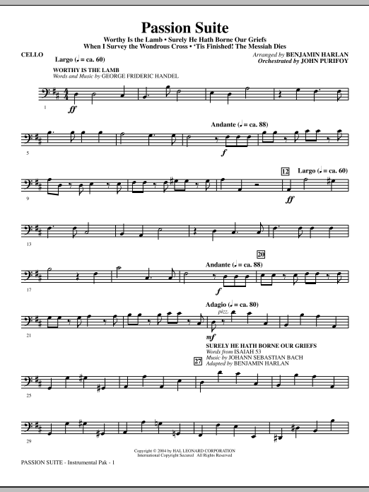 Benjamin Harlan Passion Suite - Cello sheet music notes and chords. Download Printable PDF.