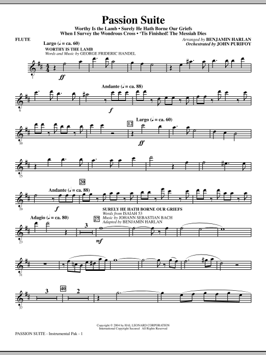 Benjamin Harlan Passion Suite - Flute sheet music notes and chords. Download Printable PDF.