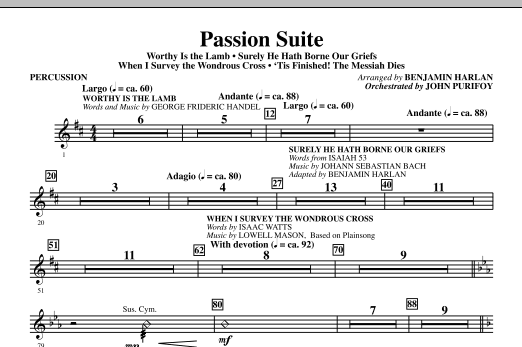 Benjamin Harlan Passion Suite - Percussion sheet music notes and chords. Download Printable PDF.