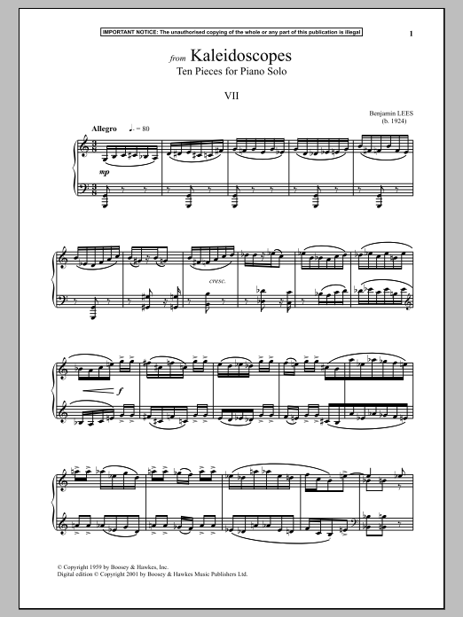 Benjamin Lees Kaleidoscopes, Ten Pieces For Piano Solo, VII. sheet music notes and chords. Download Printable PDF.