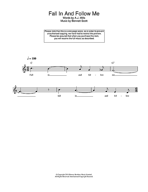 Bennett Scott Fall In And Follow Me sheet music notes and chords. Download Printable PDF.