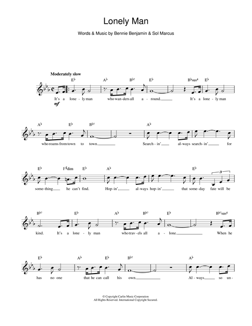 Bennie Benjamin and Sol Marcus Lonely Man sheet music notes and chords. Download Printable PDF.