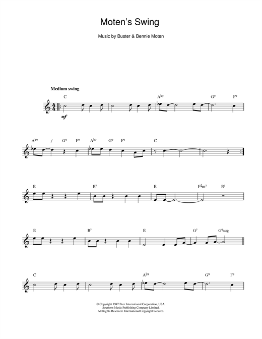 Bennie Moten Moten's Swing sheet music notes and chords. Download Printable PDF.