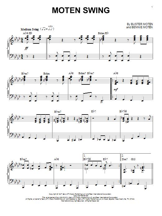 Bennie Moten Moten Swing sheet music notes and chords. Download Printable PDF.