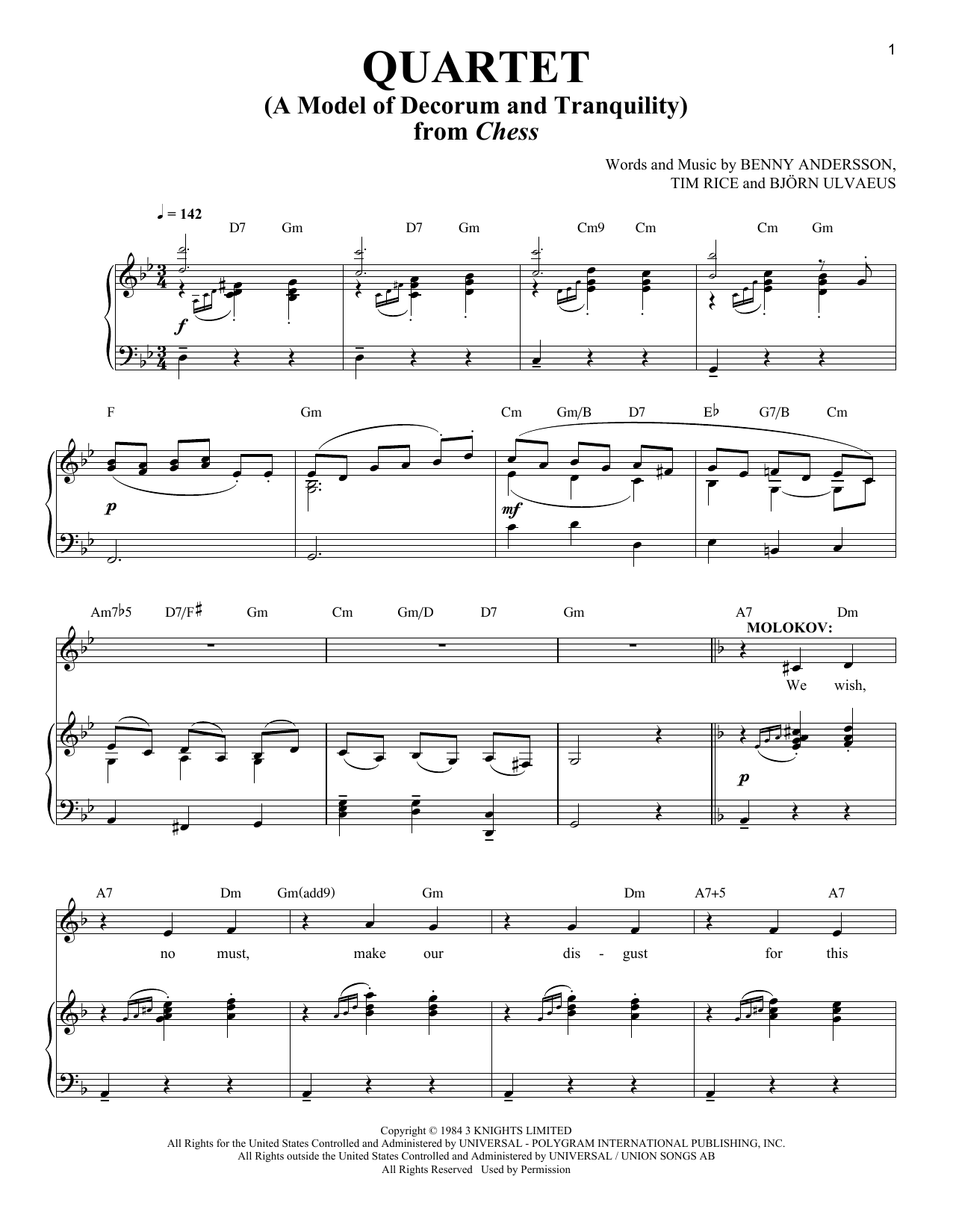 Benny Andersson Quartet (A Model Of Decorum and Tranquility) sheet music notes and chords. Download Printable PDF.