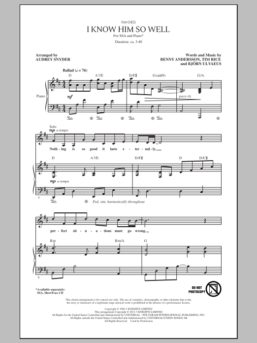 Benny Andersson, Tim Rice and Bjorn Ulvaeus I Know Him So Well (from Chess) (arr. Audrey Snyder) sheet music notes and chords. Download Printable PDF.